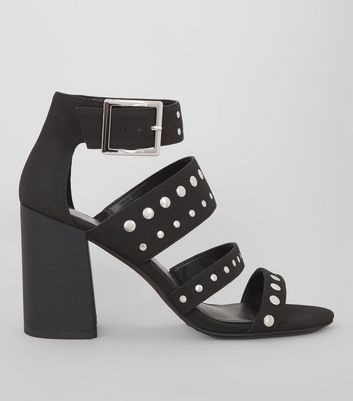 Black Stud Block Heels