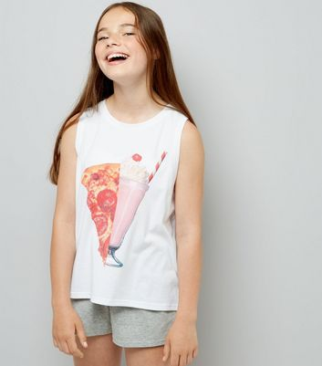 Ados - Ensemble de pyjama blanc « Pizza is bae »