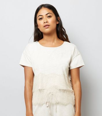 Petite Cream Lace Trim Jersey Pyjama T-Shirt