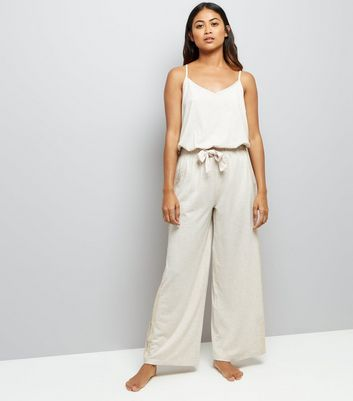 Petite Cream Jersey Lounge Jumpsuit