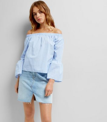 Blue Stripe Flared Sleeve Bardot Neck Top
