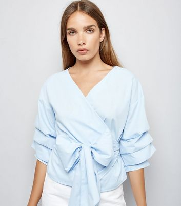 Blue Ruched Sleeve Wrap Front Top