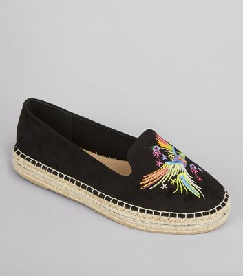 Black Bird Embroidered Espadrilles