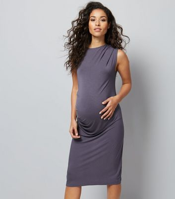 Maternity Dark Grey Draped Jersey Bodycon Midi Dress