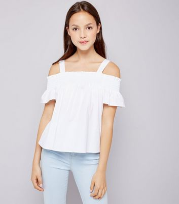Teens White Shirred Cold Shoulder Top
