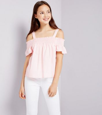 Teens Pink Shirred Cold Shoulder Top