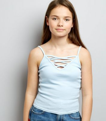 Teens Blue Ribbed Lattice Front Cami