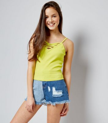 Teens Yellow Ribbed Lattice Front Cami