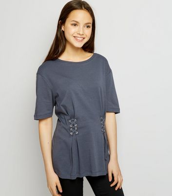 Teens Dark Grey Lace Up T-Shirt