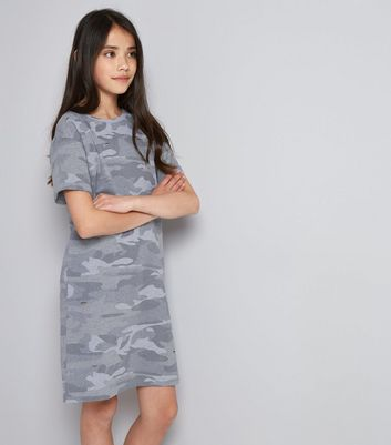 Teens Green Camo Print T-Shirt Dress