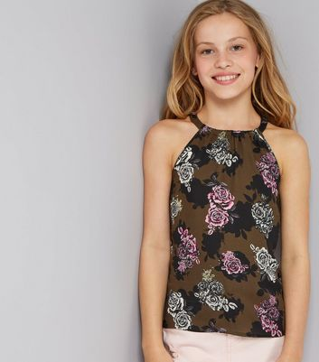 Teens Green Rose Print High Neck Cami