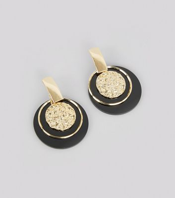 Black Contrast Textured Disc Drop Earrings