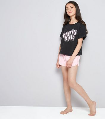 Teens Dark Grey Beverley Hills Print Pyjama Set