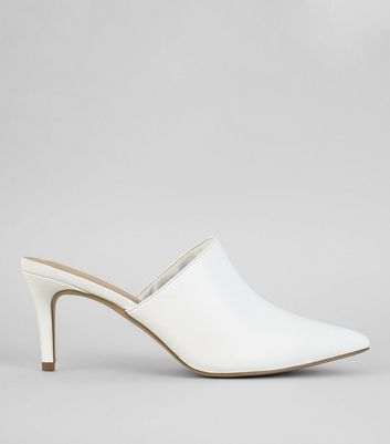 White Pointed Heeled Mules