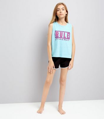 Teens Blue Rule Breaker Slogan Print Pyjama Set
