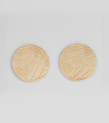 Gold Textured Disc Stud Earrings