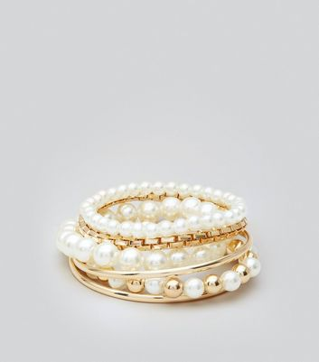 6 Pack Gold and Pearl Bead Stretch Bracelets