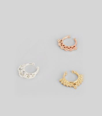 3 Pack Metallic Faux Septum Rings