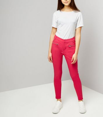 Teens Bright Pink Zip Pocket Skinny Trousers