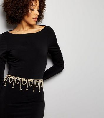 Gold Disc Loop Chain Belt