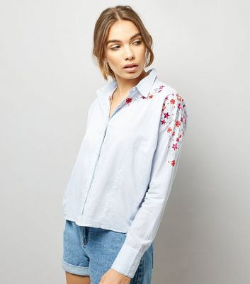 Blue Stripe Floral Embroidered Boxy Shirt