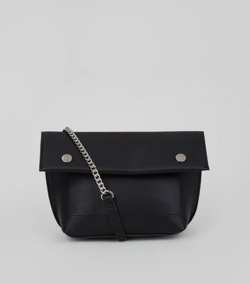 Black Stud Detail Fold Over Cross Body Bag