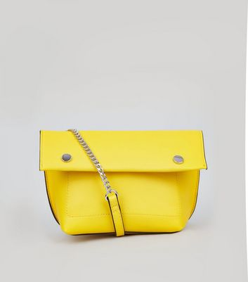 Yellow Stud Detail Gold Over Cross Body Bag