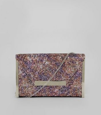 Purple Glitter Envelope Box Clutch Bag