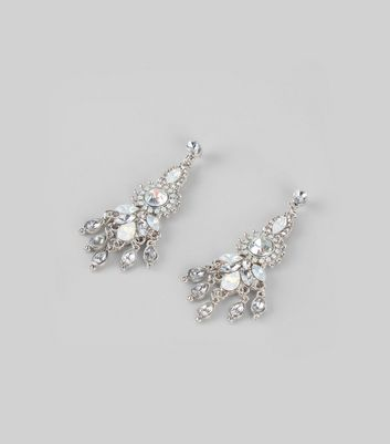 Silver Crystal Chandelier Stud Earrings