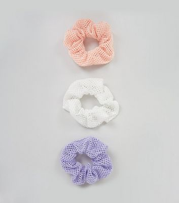 3 Pack Purple White and Pink Mesh Scrunchies