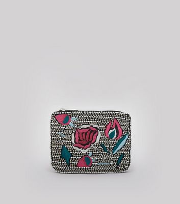 Black Floral Embroidered and Embellished Purse