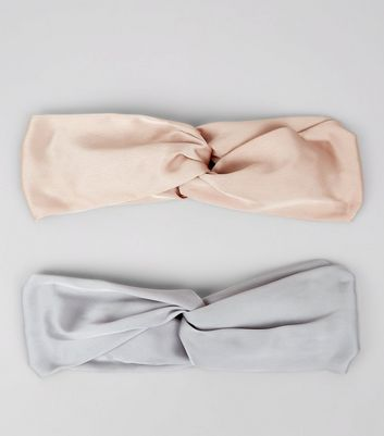 2 Pack Pink and Grey Satin Twist Top Hair Bands