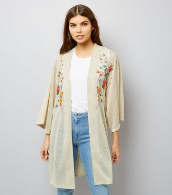Blue Vanilla Stone Floral Embroidered Cardigan