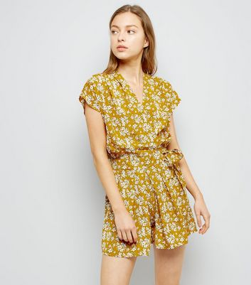 Pink Vanilla Yellow Floral Print Playsuit