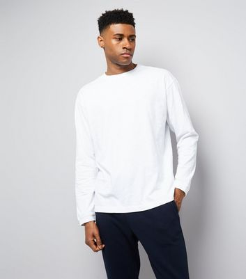 White Round Neck Long Sleeve T-Shirt