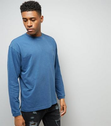 Blue Round Neck Long Sleeve T-Shirt