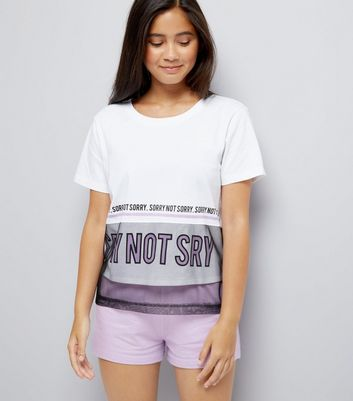 Teens White Sorry Not Sorry Slogan Pyjama Set