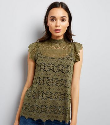 JDY Green Floral Lace Frill Sleeve Top