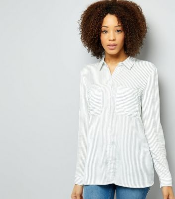 JDY White Stripe Double Pocket Front Shirt
