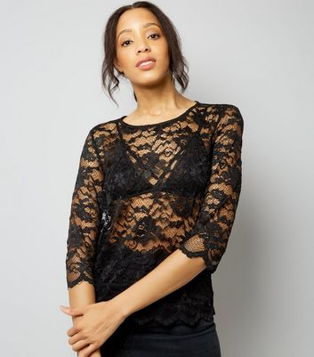 JDY Black Lace 3/4 Sleeve Top