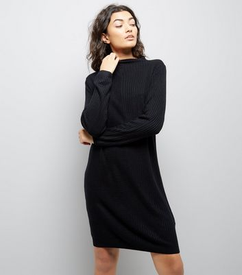 JDY Black Ribbed Jumper Dress