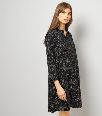 JDY Black Spot Print Shirt Dress