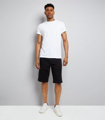 Black Textured Longline Shorts