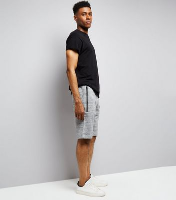 Mid Grey Textured Longline Shorts