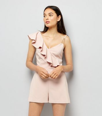Shell Pink Asymmetric Frill Playsuit