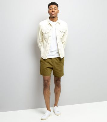 Khaki Acid Wash Drawstring Shorts