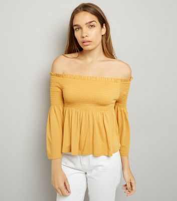 Yellow Shirred Bell Sleeve Bardot Neck Top