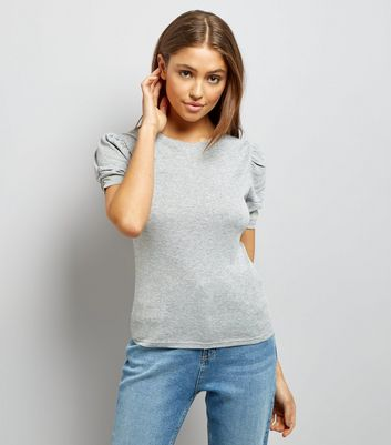 Mid Grey Ruched Sleeve T-Shirt