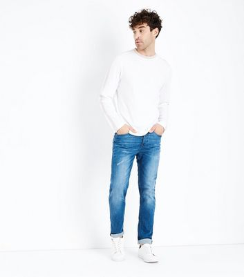 Blue Rolled Hem Slim Leg Jeans
