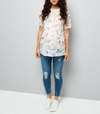 Maternity Blue Distressed Under Bump Skinny Jeans